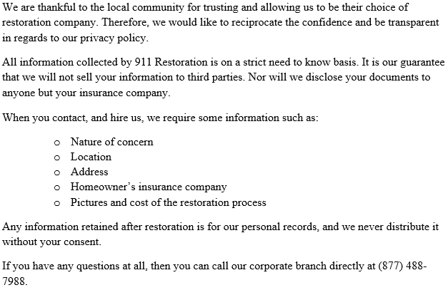 911 Restoration Westchester Privacy Policy