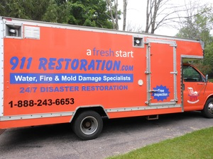Water Damage Middletown Box Truck Parked At Residential Job Location